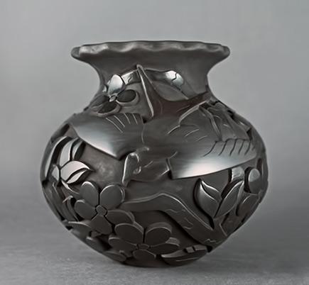 Tammy-Garcia carved ceramic pot