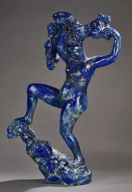 Blue statue of Bacchante with grapes' - a tribute to Bourdelle by Jean Mayodon