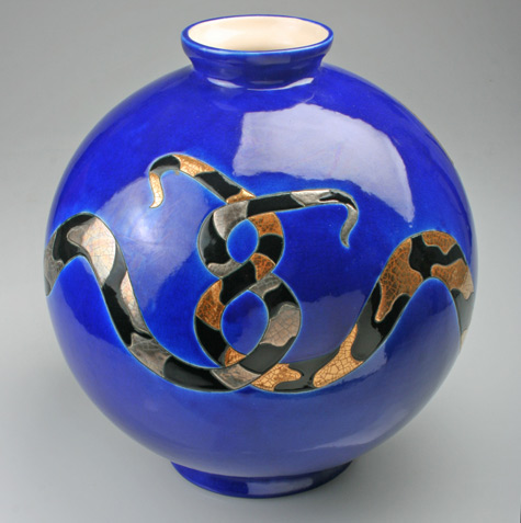 Ceramic Snake Vase by Danillo-Curetti for Longwy DOUGLAS ROSIN DECORATIVE ARTS-& ANTIQUES