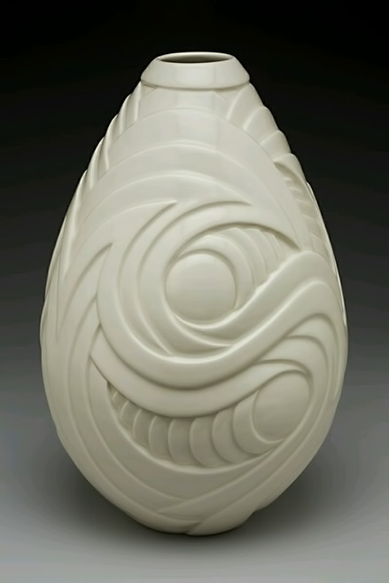 Contemporary porcelain, ceramic, vase Wheel thrown, hand carved porcelain, ceramic vase,-13-height