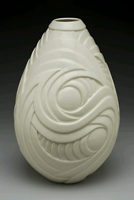 Contemporary porcelain, ceramic, vase Wheel thrown, hand carved porcelain, ceramic vase,-13-height
