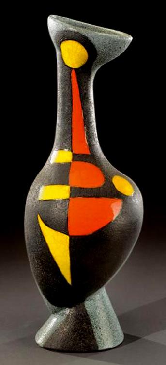 Gilbert Valentin- mid-century vase-Vallauris
