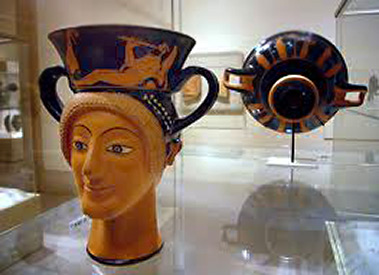 Greek, Attic, red figure terracotta kantharos (drinking cup with high-handlesca.-490-480-B.C