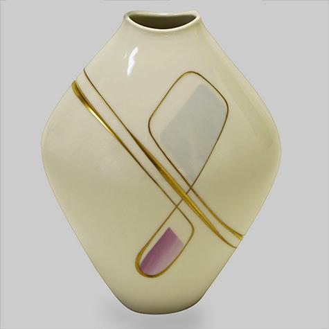 Heinrich Porcelain Vase With Gilt, Lavender-& Sky Blue-Details-1960'sASSEMBLAGE-LTD