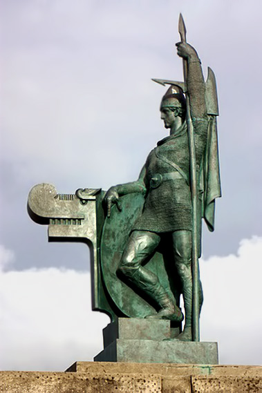 Statue of Ingolfur Arnarson the Viking--the-first-Nordic-settler-of-Iceland