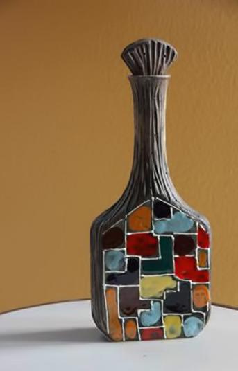 Italian ceramic decanter Raymor Fantoni mid_century