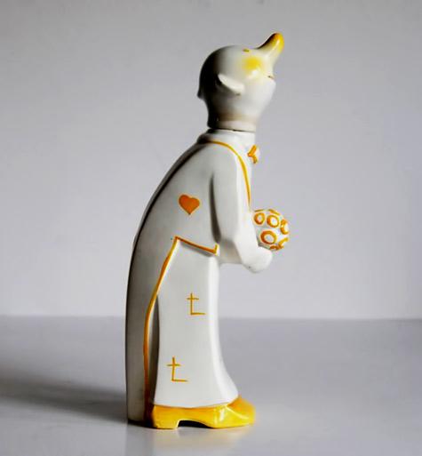 Vintage Goebel art deco bottle decanter clown-1930s-collectibles-barware-crown