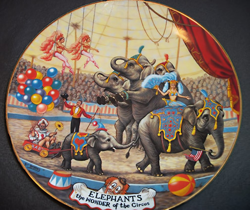 "Ceramic plate ""Elephants – The Wonder of the Circus"" - Artist Franklin Moody for Porcelaine Ariel"