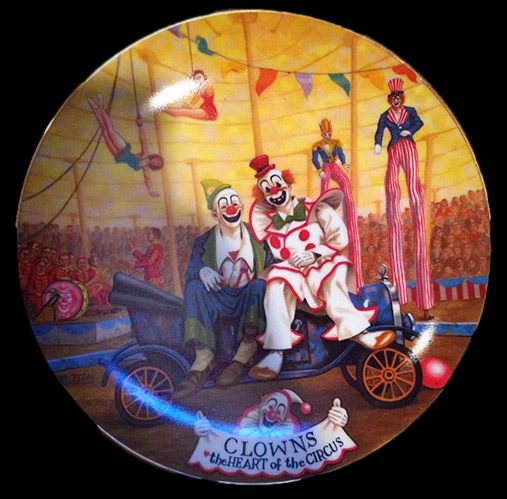 "Ceramic plate - "" Clowns - The Heart of the Circus"" - Artist Franklin Moody for Porcelaine Ariel"