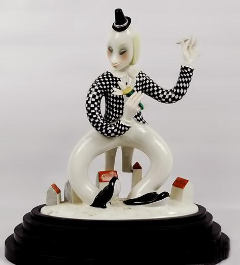 Art-deco-Lenci-Italian-porcelain-clown-figurine