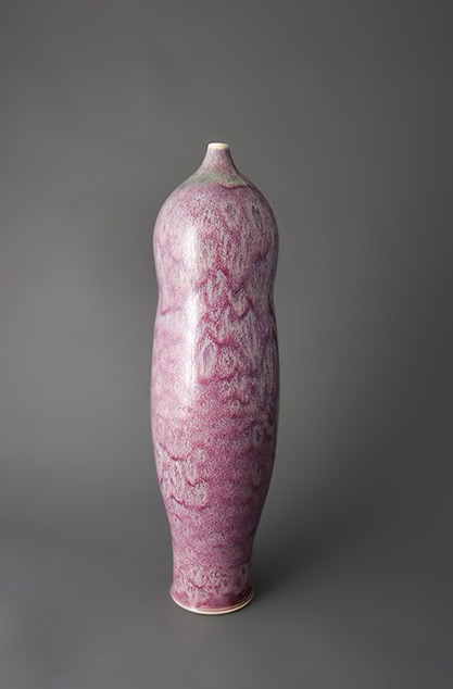 Brother Thomas,-Tall vase, textured copper reds and greens, porcelain