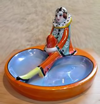 Noritake Porcelain Art Deco Lustre Trinket Dish Ashtray pierrette Clown Figurine