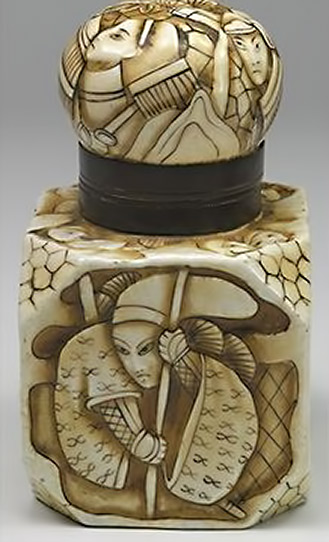 Ceramic vessel with each side in relief with a different scene of samurai, as well as a crane in flight