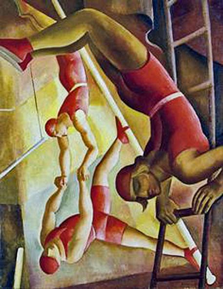 Gabor-Jeno-(1893-1968)-Acrobats Male circus acrobats in red costumes