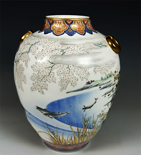 Imari Porcelain Vase with Koi and Sakura Trees