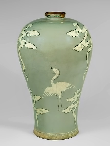 MET Stoneware with inlaid decoration of cranes and clouds under celadon glaze