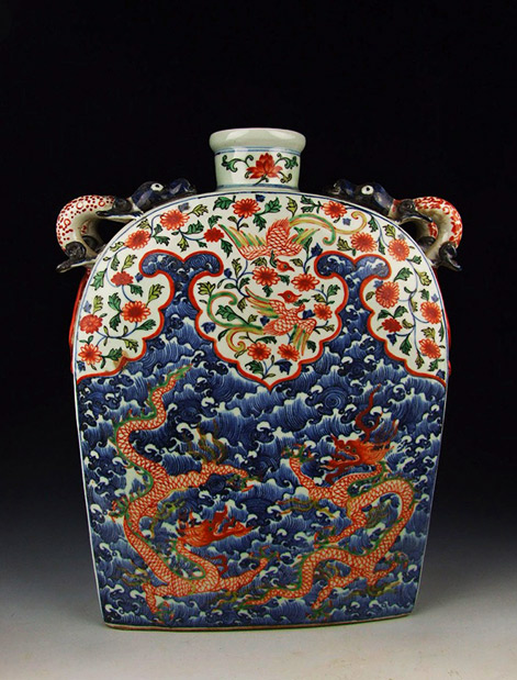 Ming Dynasty-JiaJing Reign-Five Colored and Blue Underglaze Decoration Porcelain Square Flat Vase With Sea Dragon Pattern