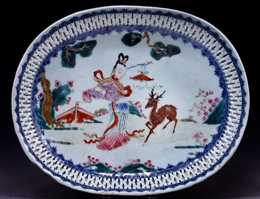 Reticulated oval finely dressed lady walking in-a landscape accompanied by a deer, which-is the symbol of both longevity and riches,PollyLatham