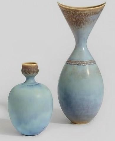 Stig Lindberg; Glazed Stoneware Vases for Gustavsberg,-c1955