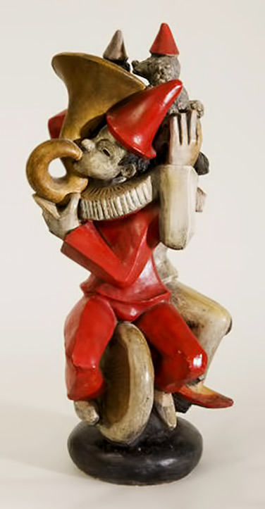 "Waylande Gregory,-""Clowns on Unicycles,""-circa-1932,-painted terracotta"