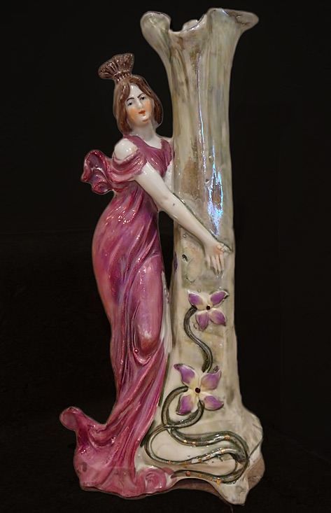 ANTIQUE-ART-NOUVEAU-FIGURINE-FIGURAL-WOMAN-PORCELAIN-ART-POTTERY-BUD-VASE