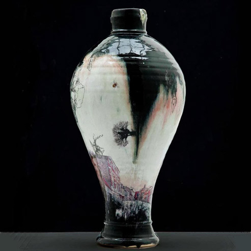 Lone Borgen and Stephen Parry handpainted vase