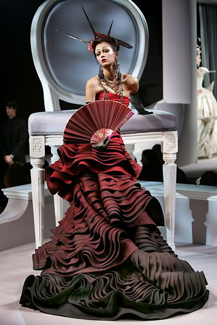 CoCo-is-Haute - Christian Dior rich red ruffled gown