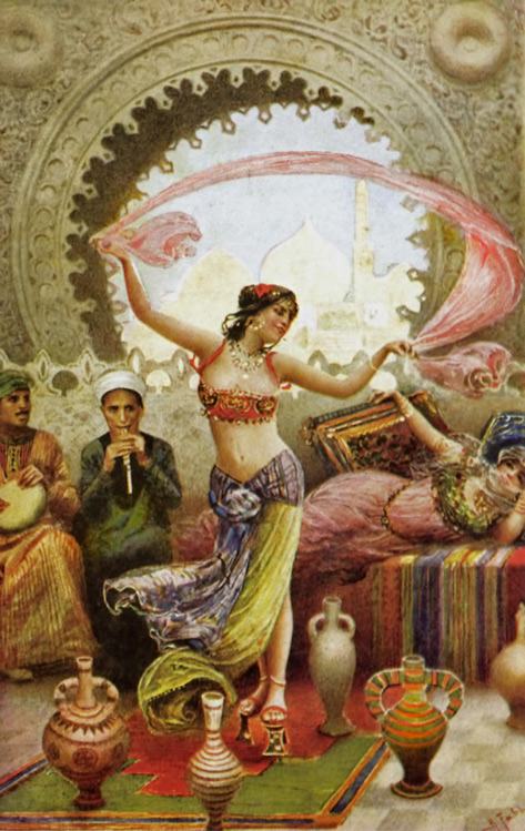 Harem-Dancer Raqs-Sharki-with-veil - Middle Eastern belly dnacer