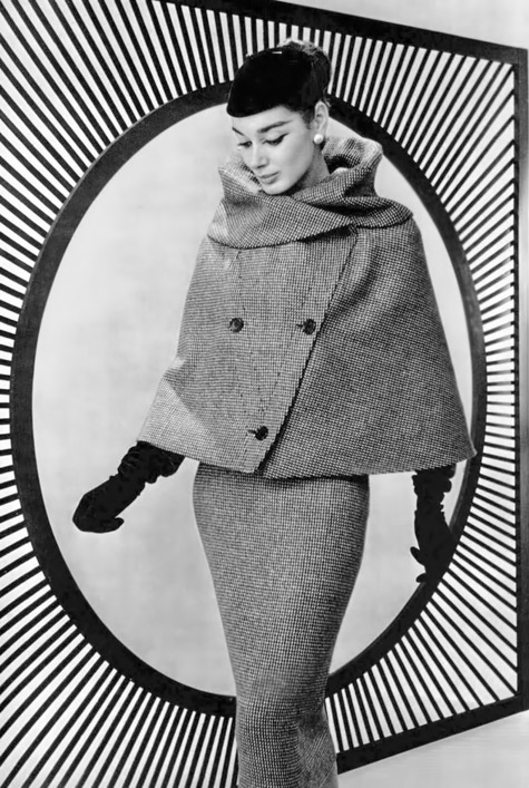 Jacky-Mazel-is-wearing-tweed-suit-with-short-cape-instead-of-jacket-by-Lanvin-Castillo,1956-'from-Sophia-Book'-Photo-Philippe-Pottier