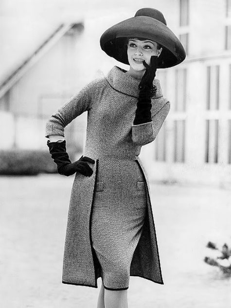 Model-in-black-and-white-tweed-dress-with-half-overskirt-by-Staebe-Seger--photo-by-Hilla-Korn--Germany--1960