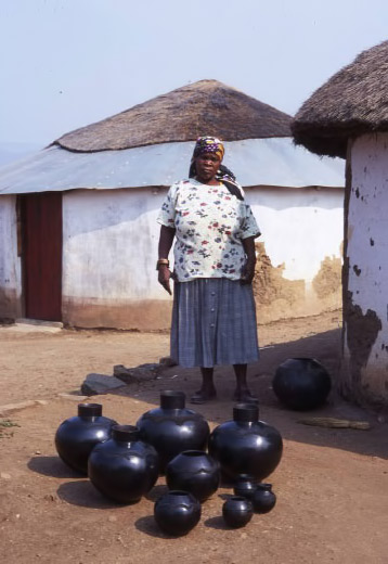 Nesta Nala---famous-for-her-sought-after-pottery-specifically-the-Ukhamba--a-smoke-black,-thin-walled,-round-bottomed-beer-pot,