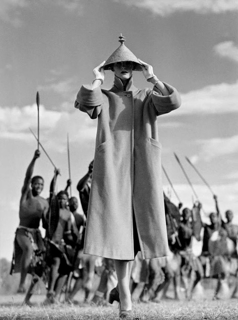 Norman-Parkinson-Zulu-War-Dance,-British-Vogue,-1951