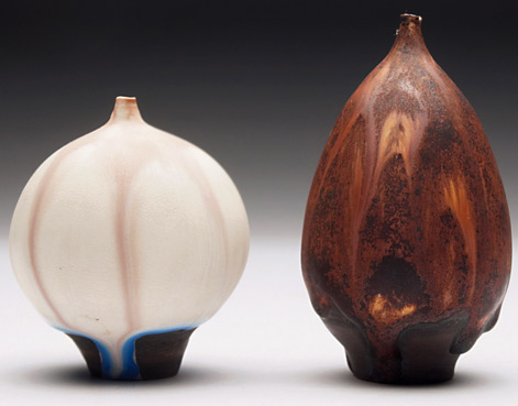Rose Cabat vase, bulbous shape, covered in tan and blue matte glaze