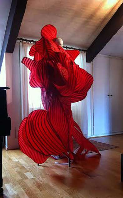 Collaboration with sonia-biacchi-and-elise-cowin Red sculptural dress