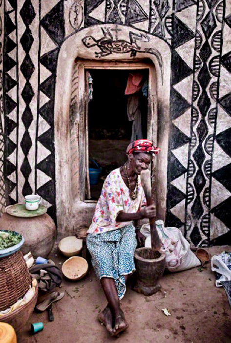 The daily grind-Traditional painted house in Kassena, Burkina Faso. By Louis Montrose