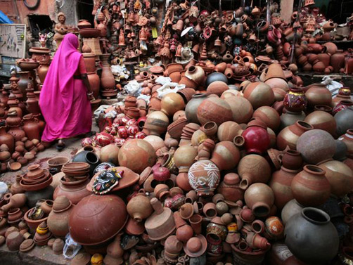 Woman in pottery shop, Jaipur, India