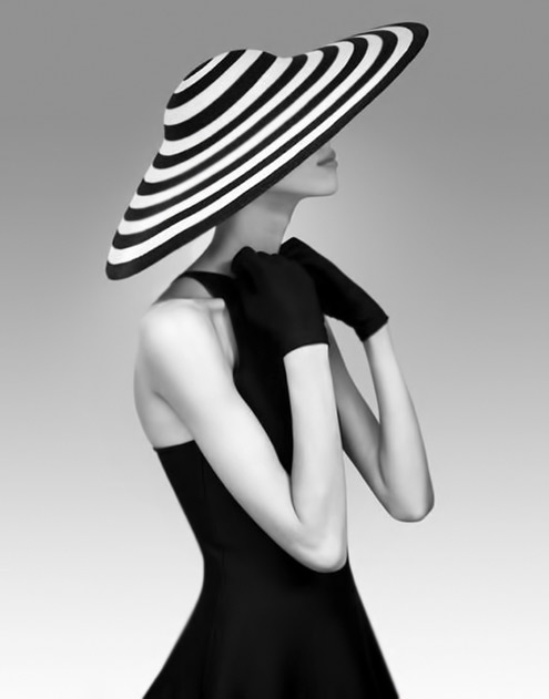 Ralph Lauren black and white striped hat