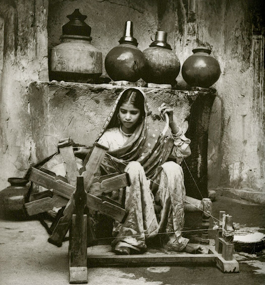 Indian girl weavng Photo by A L Syed