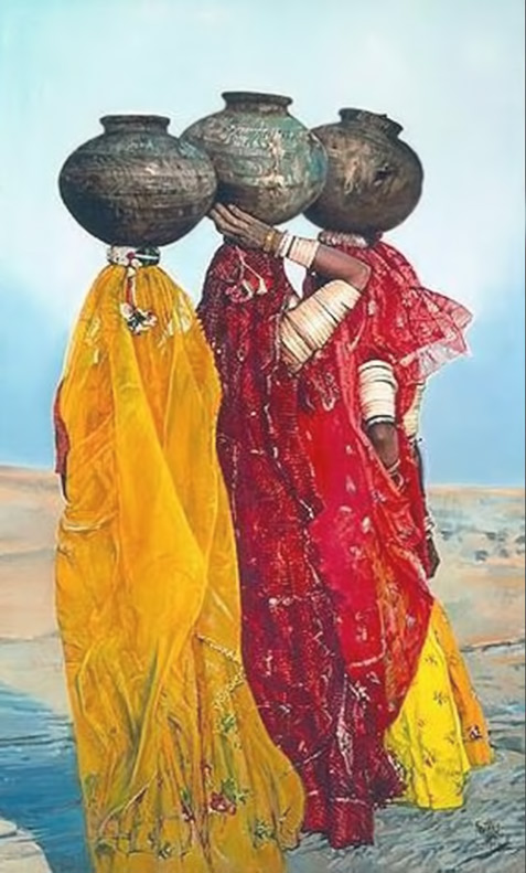india---EnlasdunasdeKuri-India-(FILEminimizer) Three Indian ladies carrying water pots