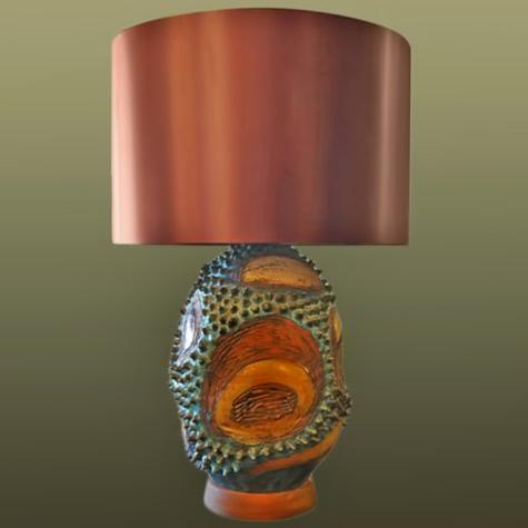 Blue-and-Brown-Ceramic-Table-Lamp,-Signed-Matranga