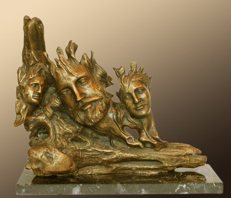Three head abstract sculpture by Yiannis Nanouris