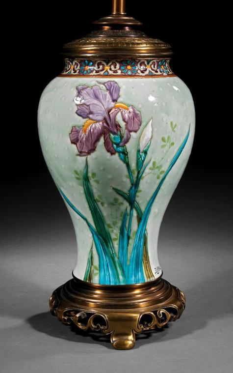 Félix Optat Milet Barbotine-Majolica-table lamp orchid decoration