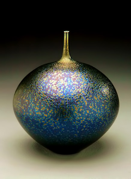 Japanese ceramicist Hideaki Miyamura -Tear drop shaped bottle-with starry night glaze
