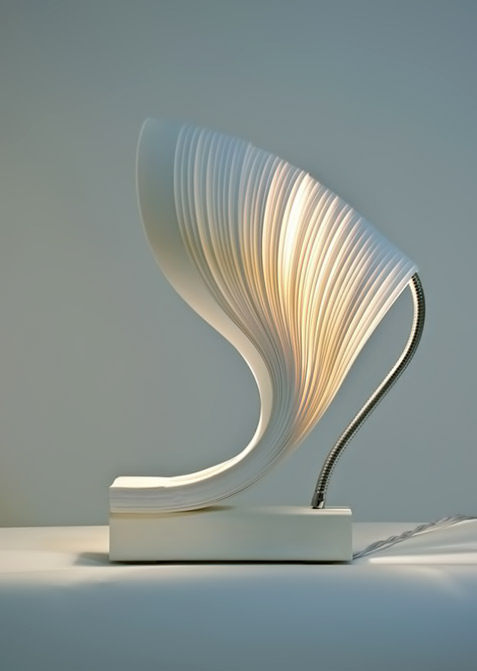 Contemporary Table lamp by 7Gods cream wave shape