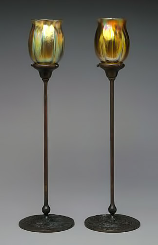 Tiffany candle lamps tulip shaped