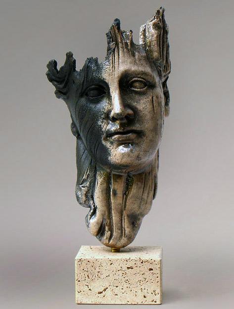 sculpture head raku mask