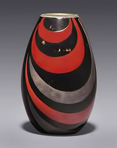 Jean Dunand vase_circa_1926 red sliver and black enamel