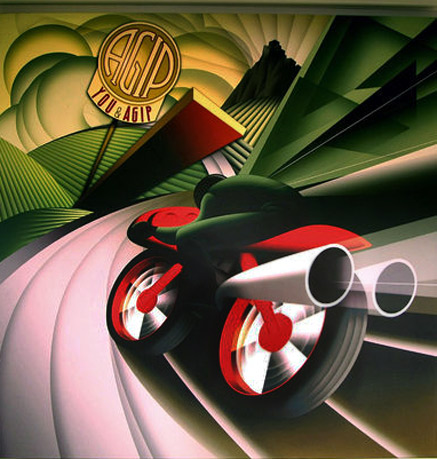 futuristic speed Fortunato Depero mand speeding into the distance on a motorbike