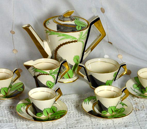 1930s Art Deco Coffee Set Soho Pottery Ambassador Ware England - Palm Tree Pattern