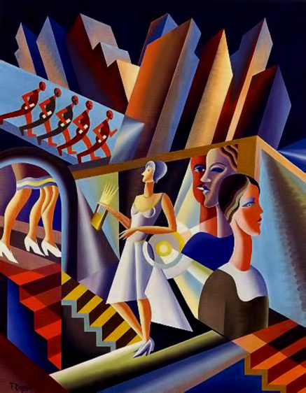 Women, stairs, skyscrapers, 1930 - Fortunato Depero Futuristi art abstract cubist